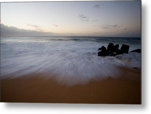 Water Metal Print featuring the photograph Pacific Wave On Beach - Oahu by Brad Rickerby