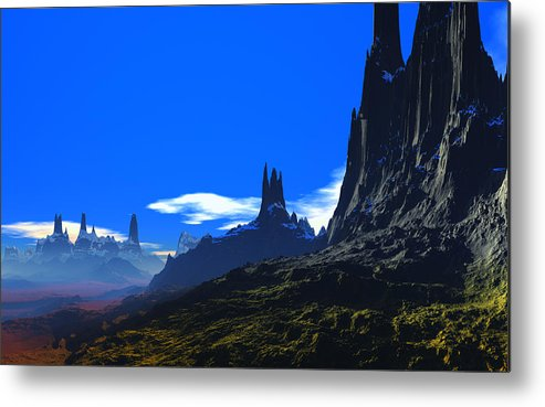 David Jackson Pass Of Gormok Alien Landscape Planets Scifi Metal Print featuring the digital art Pass Of Gormok by David Jackson