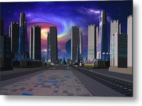 Scifi David Jackson Alienvisitor Space Passing Of The Dark Star Metal Print featuring the digital art Passing Of The Dark Star by David Jackson