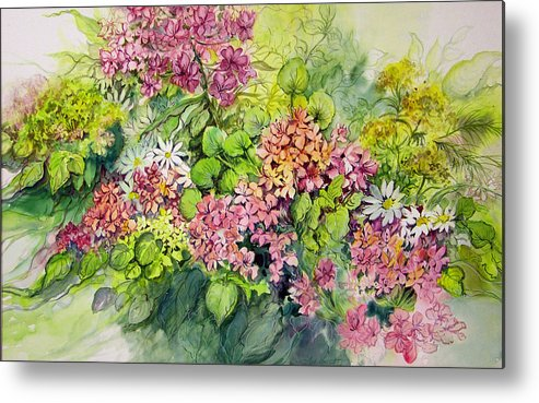 Flowers;floral;watercolor Floral;contemporary Floral;daisies; Metal Print featuring the painting Profusion Of Colors by Lois Mountz