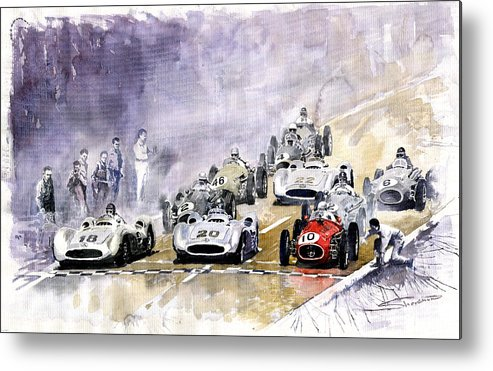 Watercolour Metal Print featuring the painting Red Car Maserati 250 France Gp by Yuriy Shevchuk