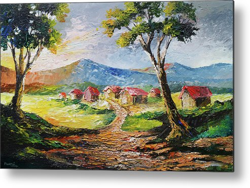 House Metal Print featuring the painting Red Roofs by Anthony Mwangi