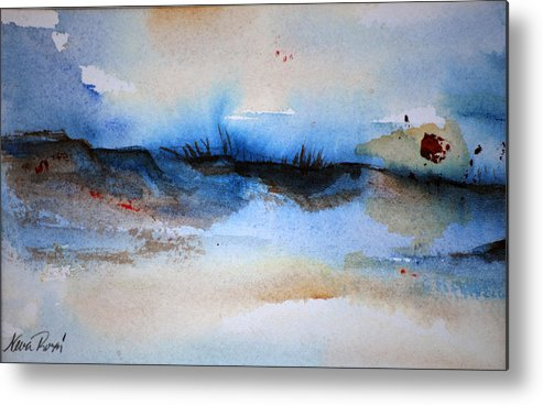 Beach Metal Print featuring the painting Red Sun Beach by Neva Rossi