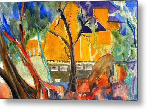Watercolor On Paper Metal Print featuring the painting River House by Patricia Bigelow