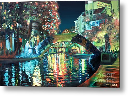 Landscape Metal Print featuring the painting Riverwalk by Baron Dixon