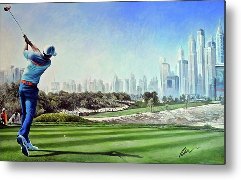 Rory Mcilroy Metal Print featuring the painting Rory At Ddc Emirates Gc Dubai 8th 2014 by Mark Robinson