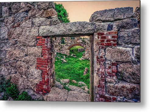 Abandoned Building Metal Print featuring the photograph Ruins Of White's Factory - Doorways by Black Brook Photography
