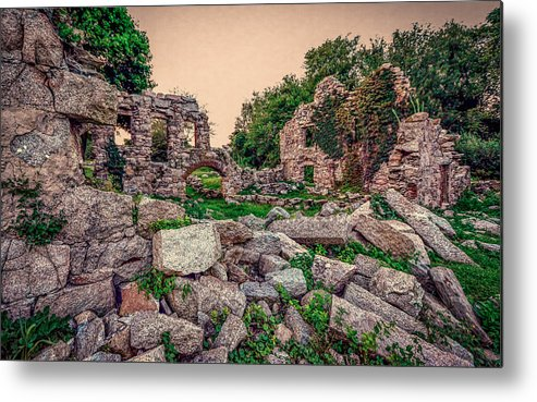 Abandoned Building Metal Print featuring the photograph Ruins Of White's Factory - Fallen Blocks by Black Brook Photography