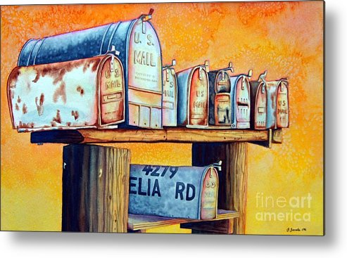 Mailboxes Metal Print featuring the painting Rural Route by Gail Zavala