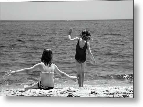 Girl Metal Print featuring the photograph Sand Dancers by Michelle Constantine