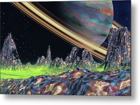 David Jackson Saturn View Alien Landscape Planets Scifi Metal Print featuring the digital art Saturn View by David Jackson