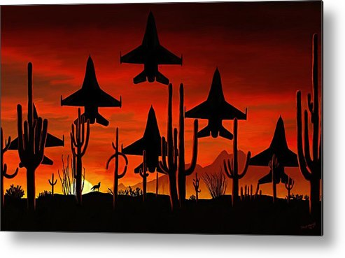 Fine Art Metal Print featuring the painting Sentinels by David Wagner