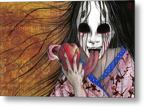 Japan Metal Print featuring the drawing Shinigami by Rachel Walker