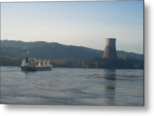 Ship Metal Print featuring the photograph Ship Passing The Now Demolished Trojan Nuclear Plant by Alan Espasandin