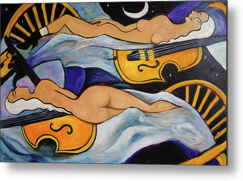 Musicians Metal Print featuring the painting Sleeping Cellists by Valerie Vescovi