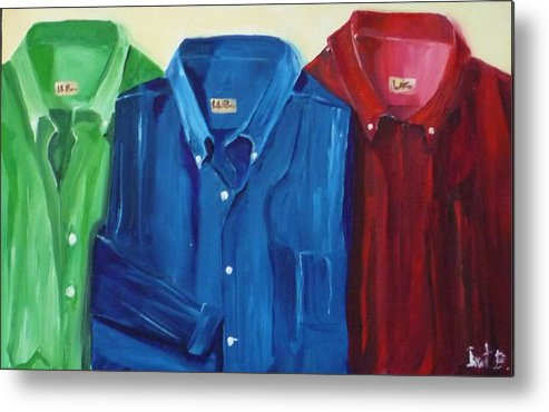 Shirts Metal Print featuring the painting So Long To Ironing by Irit Bourla