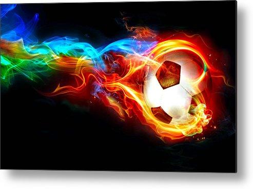 Soccer Metal Print featuring the digital art Soccer by Dorothy Binder