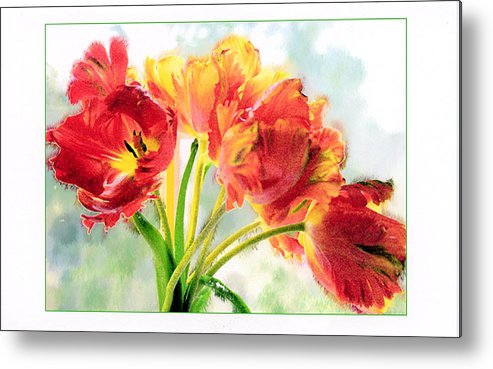 Tulips Metal Print featuring the photograph Spring Tulips by Margaret Hood