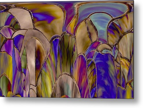 Abstract Metal Print featuring the photograph Stained Glass Abstract by Elizabeth Tillar
