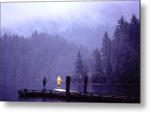 Fishing Metal Print featuring the photograph Standing In The Mist 2 Wc by Lyle Crump
