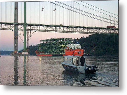Tacoma Metal Print featuring the photograph Tacoma Narrows Bridge With Patrol Boat In Foreground by Alan Espasandin