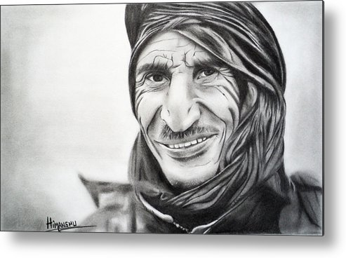 Pencil Portraits Metal Print featuring the drawing Taliban by Himanshu Jain