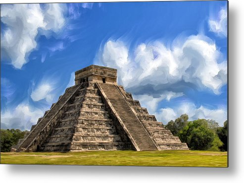 Temple Of The Feathered Serpent Metal Print featuring the painting Temple Of The Feathered Serpent by Dominic Piperata