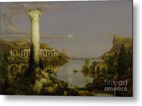 Moonlit Landscape; Classical; Architecture; Ruin; Ruins; Desolate; Bridge; Column; Hudson River School; Moon Metal Print featuring the painting The Course Of Empire - Desolation by Thomas Cole