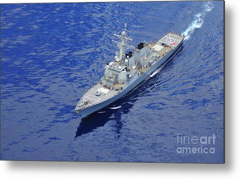 Uss Okane (ddg 77) Metal Print featuring the painting the guided-missile destroyer USS Okane by Celestial Images