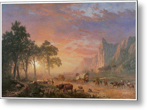 Albert Bierstadt Metal Print featuring the painting The Oregon Trail by Albert Bierstadt
