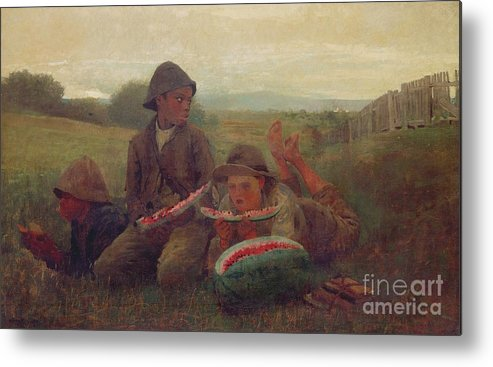 Children Metal Print featuring the painting The Watermelon Boys by Winslow Homer