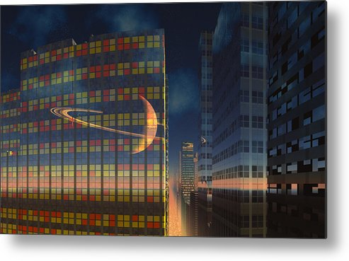 Scifi David Jackson Alienvisitor Space World Below The Rings Metal Print featuring the digital art The World Below The Rings by David Jackson