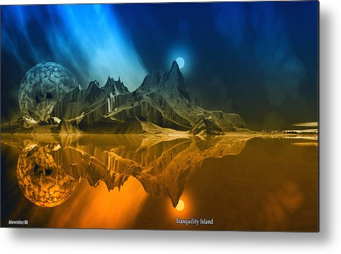 Scifi David Jackson Alienvisitor Space Tranquility Island. Metal Print featuring the digital art Tranquility Island. by David Jackson