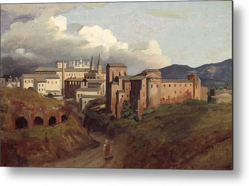View Metal Print featuring the painting View Of Saint John Lateran Rome by Joseph Desire Court
