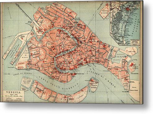 Vintage map of venice italy 1920 metal print by cartographyassociates venice metal print featuring the drawing vintage map of venice italy 1920 by cartographyassociates gumiabroncs Images