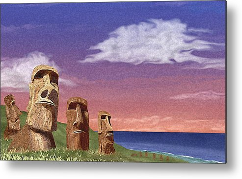 Contemporary Quirky Easter Island Statues Seascape Ocean Water Primitive Watchers Watching Guard Guards Guardians Vigilance Vigilant Think Thinking Thinkers Aware Alert Looking Lookouts Beach Patrol Stalwart Steadfast Defense Defending Defenders Security Safety Safe Unfriendly Hostile Stone Face Faced Determination Determined Serious Dedicated Dedication Committed Contemplation G Metal Print featuring the painting Watchers by Gordon Beck