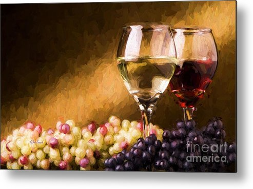 White Wine Metal Print featuring the mixed media White And Red Wine by Garland Johnson