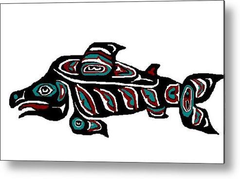 Fish Metal Print featuring the digital art Wild Salmon by Carole Boyd