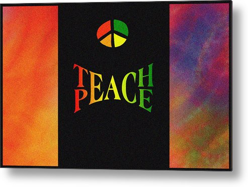 Glass Metal Print featuring the mixed media Teach Peace One by Jas Stem