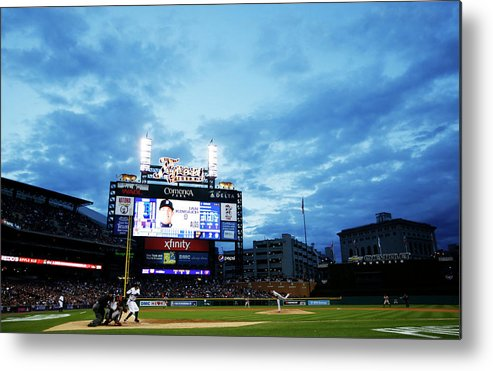 American League Baseball Metal Print featuring the photograph Ian Kinsler And Andrew Miller by Gregory Shamus