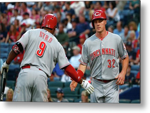 Atlanta Metal Print featuring the photograph Marlon Byrd, Brandon Phillips, And Jay Bruce by Kevin C. Cox