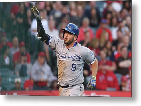 Three Quarter Length Metal Print featuring the photograph Mike Moustakas by Stephen Dunn