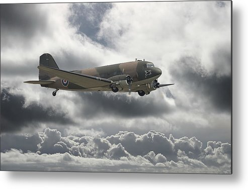 Aircraft Metal Print featuring the digital art  Dc3 Dakota  Workhorse by Pat Speirs