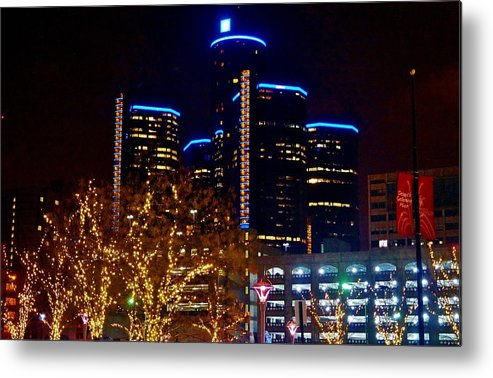 Metal Print featuring the photograph ren Cen at Night by Daniel Thompson