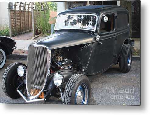1933 Ford Two Door Sedan Front And Side View Metal Print featuring the photograph 1933 Ford Two Door Sedan Front And Side View by John Telfer