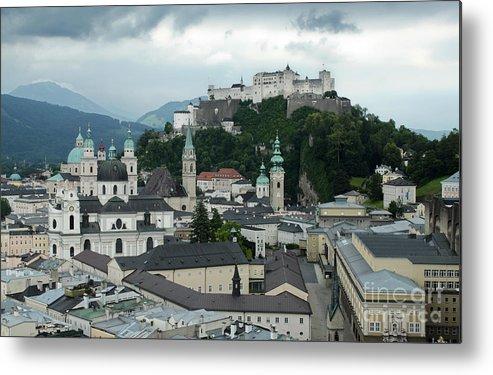 Hohensalzburg Castle In Salzburg Austria Metal Print featuring the photograph Hohensalzburg Castle In Salzburg Austria by Gregory Dyer