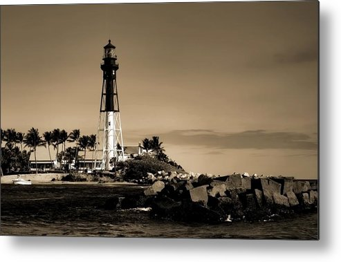 Lighthouse Metal Print featuring the photograph A Dawning Light - Gold Tone by Chrystyne Novack
