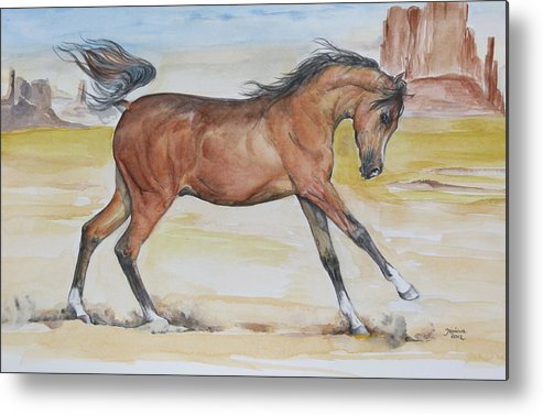 Horse Original Painting Metal Print featuring the painting Arizona Baby by Janina Suuronen