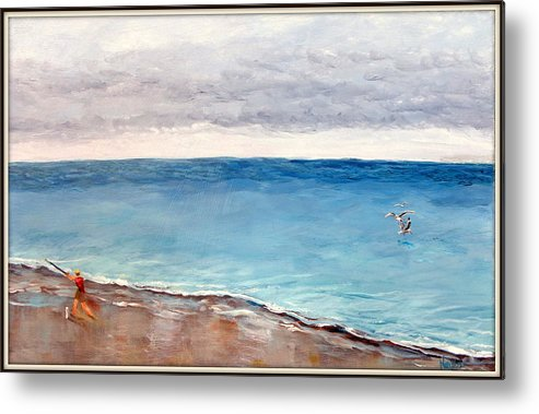 Fishing Metal Print featuring the painting Atlantic Beach Fishing by Deborah Naves