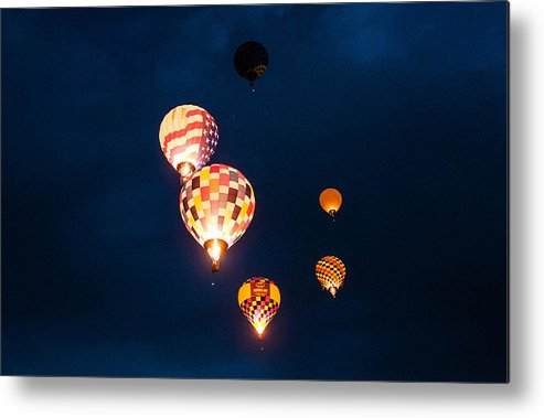 Albuquerque Balloon Festival Evening Glow Metal Print featuring the photograph Balloon Glow by Linda Pulvermacher